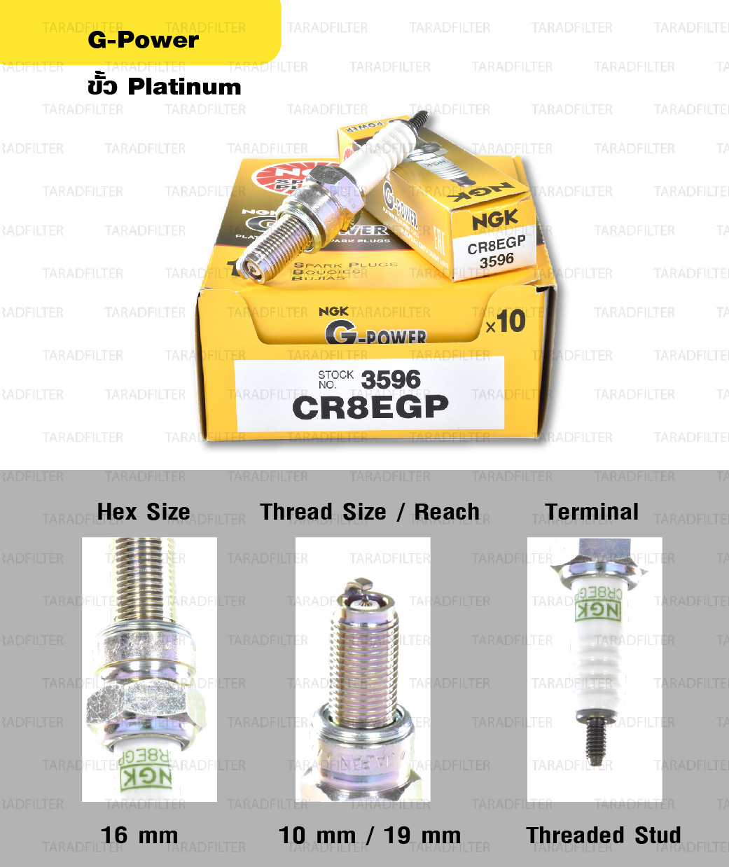 หัวเทียน NGK CR8EGP ขั้ว Platinum ใช้สำหรับ New Vespa และบิ๊กไบค์หลายรุ่น (1 หัว) – Made in Japan