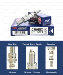 หัวเทียน NGK CR9EIX ขั้ว Iridium ใช้สำหรับ Benelli TNT300-600, Kawasaki Z800, Suzuki GSX750, Yamaha YZF-R15 ตัวเก่า, Mslaz - Made in Japan