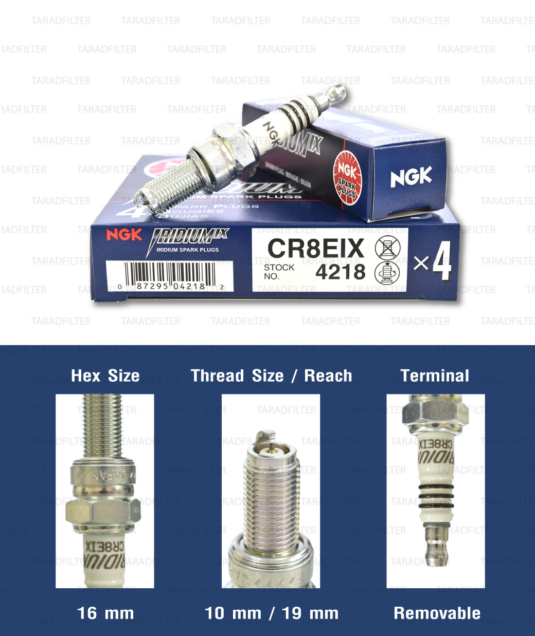 หัวเทียน NGK CR8EIX ขั้ว Iridium ใช้สำหรับ New Vespa , CBR150, Ninja250, Ninja300, YZF-R3, Gladius, V-storm - Made in Japan