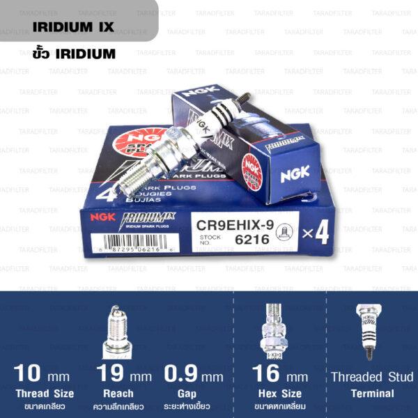หัวเทียน NGK CR9EHIX-9 ขั้ว Iridium ใช้สำหรับ CB650F, CBR650 (1 หัว) - Made in Japan