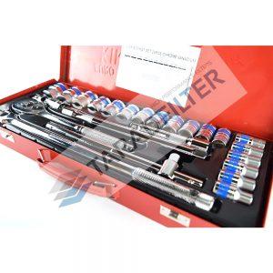 "Euro King Tools ชุดบล็อกเครื่องมือช่าง อเนกประสงค์ แกน 1/2"" ( 4 หุุน ) 24 ชิ้น"