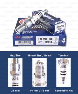 หัวเทียน NGK BR9EIX ขั้ว Iridium ใช้สำหรับมอเตอร์ไซค์ 2 จังหวะ TZR150, TZM150 VICTOR-S, M, SERPICO (1 หัว) - Made in Japan