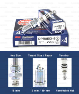หัวเทียน NGK DPR8EIX-9 ขั้ว Iridium ใช้สำหรับ Triumph Thruxton, Scrambler, Bonneville T100 ตัว air cooler (1 หัว) - Made in Japan
