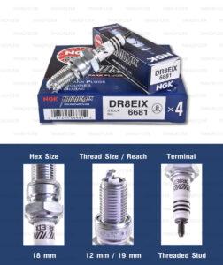 หัวเทียน NGK DR8EIX ขั้ว Iridium ใช้สำหรับ Stallions Centaur 250, BMW F650, Suzuki GSX-R650, GPX Legend150s / GENTLEMAN 200 (1 หัว) - Made in Japan