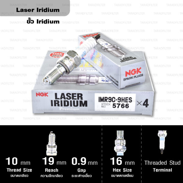 NGK หัวเทียน Laser Iridium ขั้ว Iridium ติดรถ IMR9C-9HES ใช้สำหรับมอเตอร์ไซค์ CBR1000RR ปี 2004-2007 (1 หัว) - Made in Japan