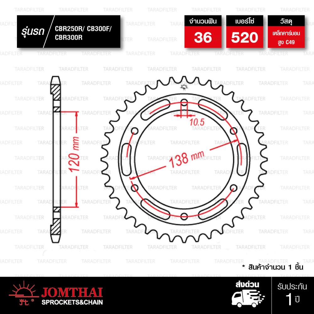 Jomthai สเตอร์หลังสีเหล็ก 36 ฟัน ใช้สำหรับมอเตอร์ไซค์ Honda CBR250 / CBR300 / CB300F [ JTR1220 ]