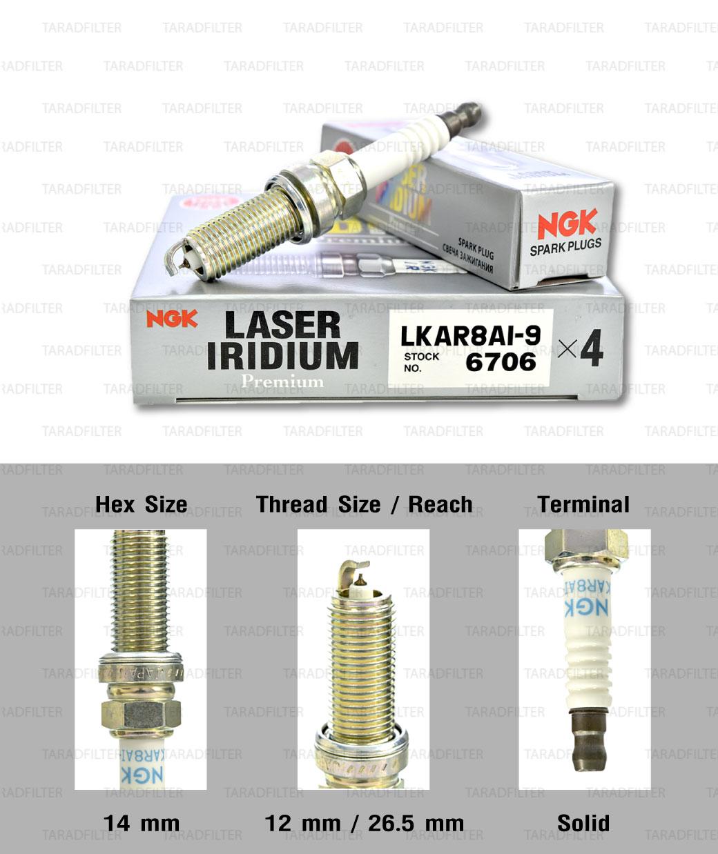 NGK หัวเทียน Laser Iridium ขั้ว Iridium ติดรถ LKAR8AI-9 ใช้สำหรับมอเตอร์ไซค์ KTM Duke200, RC200, Duke390, Duke690, Enduro690 (1 หัว) - Made in Japan