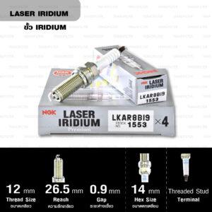NGK หัวเทียน Laser Iridium ขั้ว Iridium ติดรถ LKAR8BI9 ใช้สำหรับมอเตอร์ไซค์ KTM Duke690 (Twin Spark) และ Adventure 1190 (Twin Spark) (1 หัว) - Made in Japan