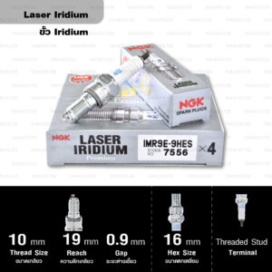 NGK หัวเทียน Laser Iridium ขั้ว Iridium ติดรถ IMR9E-9HES ใช้สำหรับมอเตอร์ไซค์ CBR1000RR ปี 2008 ขึ้นไป (1 หัว) - Made in Japan