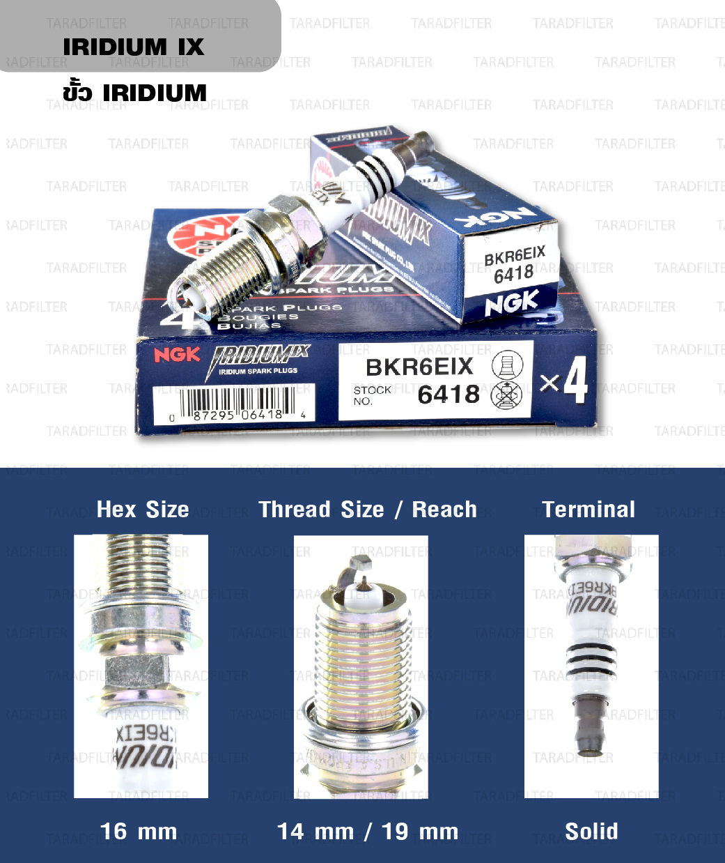 หัวเทียน NGK BKR6EIX ขั้ว Iridium ใช้สำหรับ Chevrolet Optra 1.6, 1.8 (1 หัว)