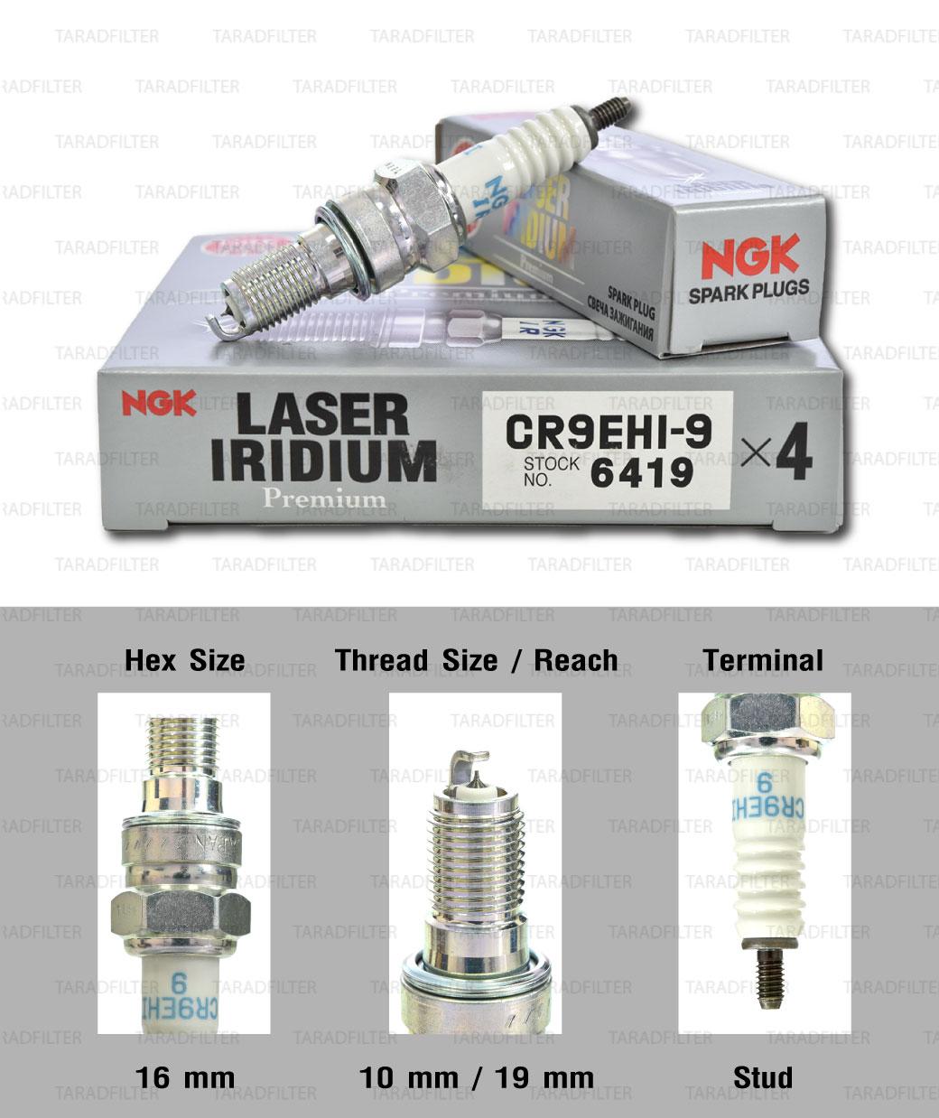 NGK หัวเทียน Laser Iridium ขั้ว Iridium CR9EHI-9 ใช้สำหรับมอเตอร์ไซค์ CB650F CBR650F- Made in Japan