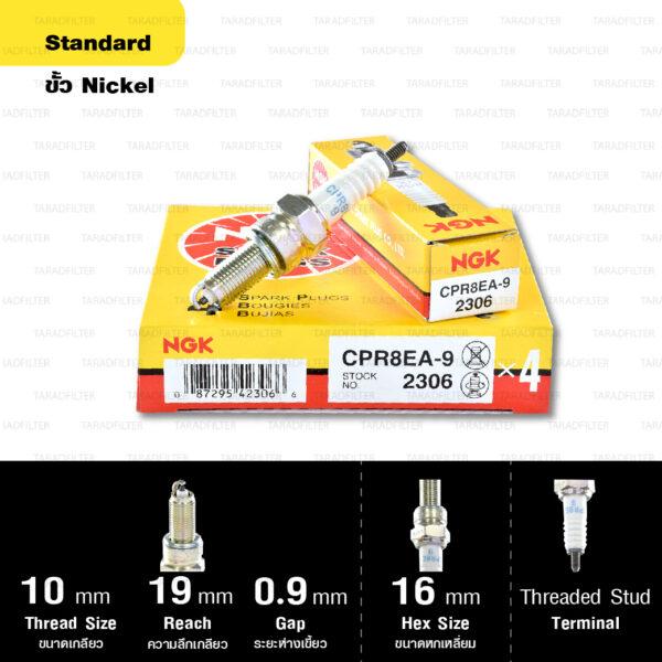 หัวเทียน NGK CPR8EA-9 ขั้ว Nickel ใช้สำหรับ CB500X, CBR500 (1 หัว) – Made in Japan