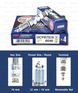 หัวเทียน NGK DCPR7EIX ขั้ว Iridium ใช้สำหรับ Toyata Avanza 1.5L / Suzuki Swift 1.2L (1 หัว) - Made in Japan