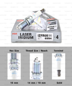 NGK หัวเทียน LASER IRIDIUM IZFR6K-11 ใช้สำหรับรถยนต์ Honda Civic FD1 FD3 FD7 1.8L/ 2.0L (1 หัว)