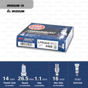 หัวเทียน NGK LFR5AIX-11 ขั้ว Iridium ใช้สำหรับ Nissan Teana 2.0L, 2.3L, X-trail 2.0L/ 2.5L '05 (1 หัว) - Made in Japan