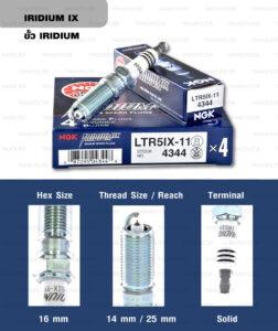 หัวเทียน NGK LTR5IX-11 ขั้ว Iridium ใช้สำหรับ Ford Fiesta 1.4/1.5/1.6L, Mazda 3 เครื่อง 2.0, 2.3L (1 หัว) - Made in Japan