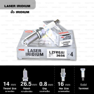 NGK หัวเทียน LASER IRIDIUM LZFR6AI ใช้สำหรับรถยนต์ Mitsubishi Space Wagon '95-'11 【 4G69 】 (1 หัว) - Made in Japan