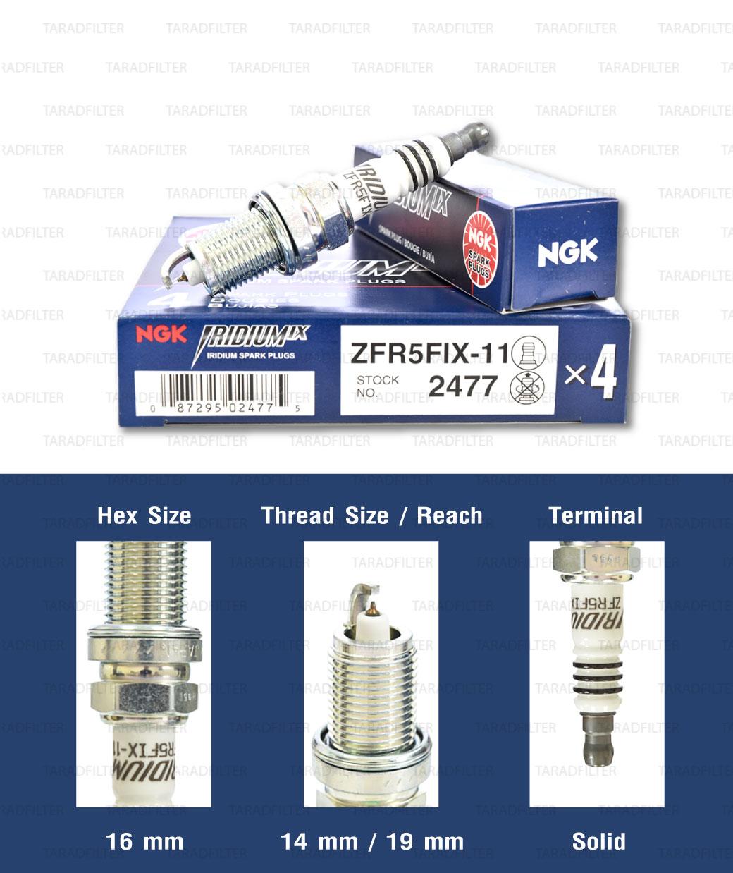 หัวเทียน NGK ZFR5FIX-11 ขั้ว Iridium ใช้สำหรับ Honda Accord, Mazda 323, Ford Laser Tierra (1 หัว) - Made in Japan