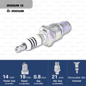 หัวเทียน NGK BPR8EIX ขั้ว Iridium (1 หัว) - Made in Japan