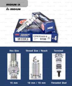 หัวเทียน NGK CPR7EAIX-9 ขั้ว Iridium ใช้สำหรับ Honda PCX, Click i, CRF125 (1 หัว) - Made in Japan