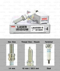 NGK หัวเทียน LASER IRIDIUM LMAR8BI-9 ใช้สำหรับ มอเตอร์ไซค์ บิ๊กไบค์ Forza300 / MT-07 / T100 T120 Thruxton R (1 หัว) - Made in Japan