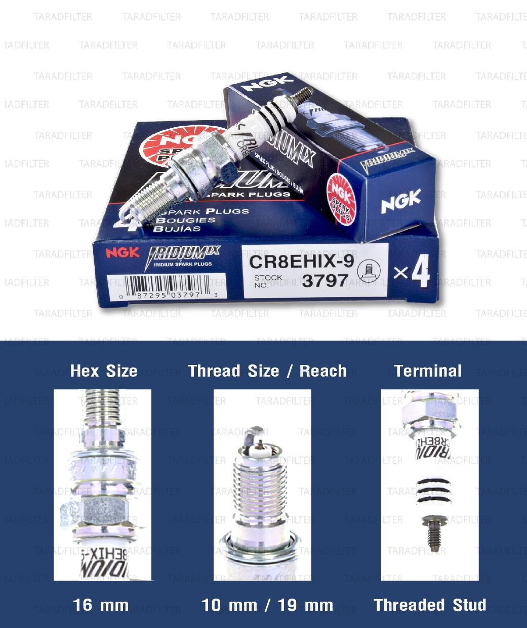 หัวเทียน NGK CR8EHIX-9 ขั้ว Iridium ใช้สำหรับCB400 (1 หัว) - Made in Japan