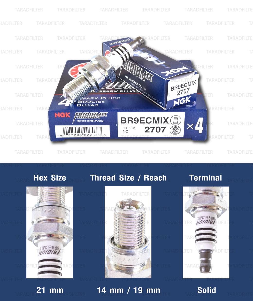 หัวเทียน NGK BR9ECMIX ขั้ว Iridium ใช้สำหรับมอเตอร์ไซค์ 2 จังหวะ KR150K, NSR150SP, Phantom150 (รุ่นตูดถอดไม่ได้) (1 หัว) - Made in Japan