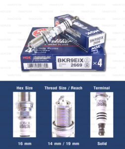 หัวเทียน NGK BKR9EIX ขั้ว Iridium (1 หัว) - Made in Japan