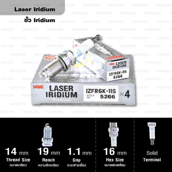 NGK หัวเทียน LASER IRIDIUM IZFR6K-11S ใช้สำหรับรถยนต์ Honda Civic FD1/ FD7/ FD4/ FD6 (R16A2, R18A1, R18A2), CR-V 3 2.0 (R20A2) (1 หัว) - Made in Japan
