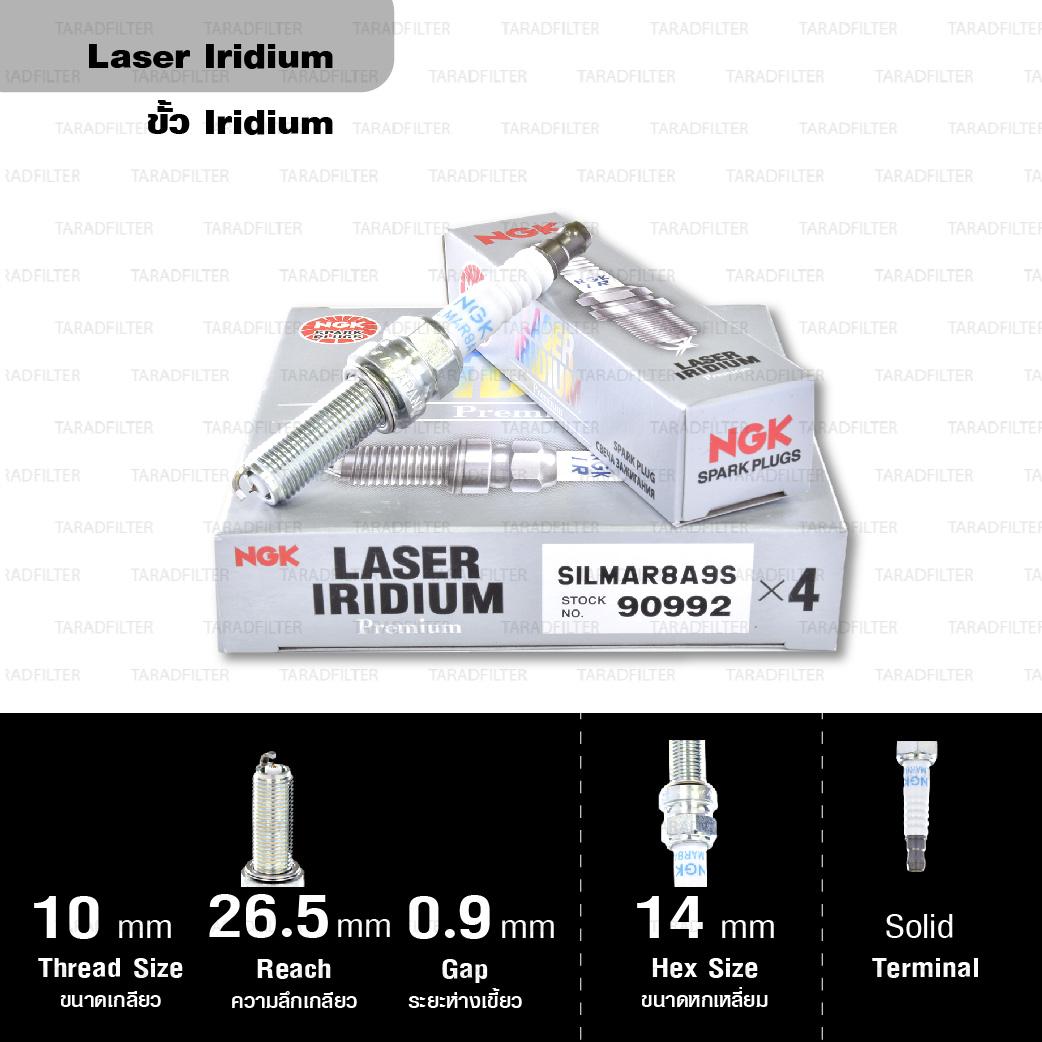 NGK หัวเทียน LASER IRIDIUM SILMAR8A9S ใช้สำหรับรถยนต์ มอเตอร์ไซค์บิ๊กไบค์ Honda Africa Twin (1 หัว) - Made in Japan