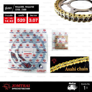 JOMTHAI ชุดโซ่-สเตอร์ Kawasaki Ninja250 / Ninja300 / Z250 / Z300 / Versys 300 | โซ่ X-ring สีทอง-ทอง และ สเตอร์สีเหล็กติดรถ [14/43]