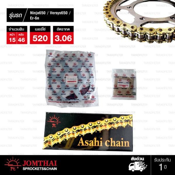 JOMTHAI ชุดโซ่-สเตอร์ Kawasaki ER6N / Ninja650 / Versys650 / ER6F   โซ่ X-ring สีทอง-ทอง และ สเตอร์สีเหล็กติดรถ [15/46]