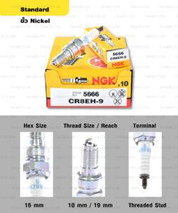 หัวเทียน NGK CR8EK ขั้ว Nickel Multigrounded ใช้สำหรับ New Vespa , CBR150, Ninja250, Ninja300, YZF-R3, Gladius, V-storm , TNT300 (1 หัว) – Made in Japan