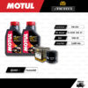 FULL MOTO ชุดถ่ายน้ำมันเครื่องสังเคราะห์แท้ MOTUL H-TECH 100 4T [ 10w-30 ] ใช้สำหรับ มอเตอร์ไซค์ Honda Forza300