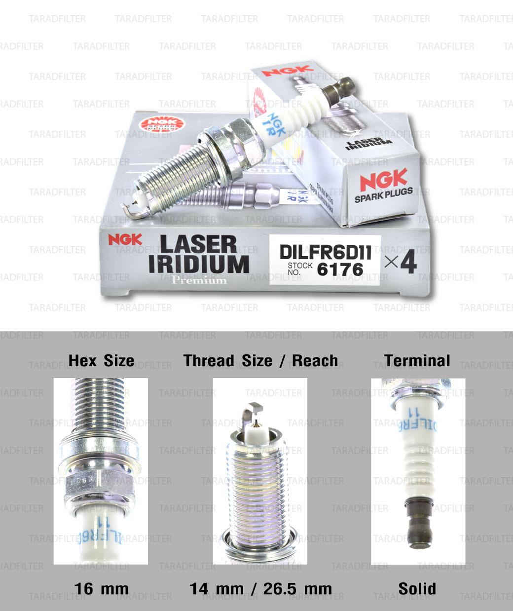 NGK หัวเทียน Laser Iridium ขั้ว Iridium ติดรถ DILFR6D11 ใช้สำหรับรถยนต์ มอเตอร์ไซค์ Mitsubishi Mirage 2012 มิราจ และ Attrage 2013 (แทนเบอร์ศูนย์ไทย DILFR6A11) (1 หัว) - Made in Japan