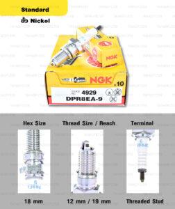 หัวเทียน NGK DPR8EA-9 ขั้ว Nickel ใช้สำหรับ Triumph Thruxton, Scrambler, Bonneville T100 ตัว air cooler (1 หัว) – Made in Japan