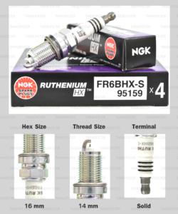 NGK หัวเทียน Ruthenium HX ขั้ว Ruthenium FR6BHX-S ใช้สำหรับ Honda Civic , City, CRV, Freed, Jazz - Made in Japan