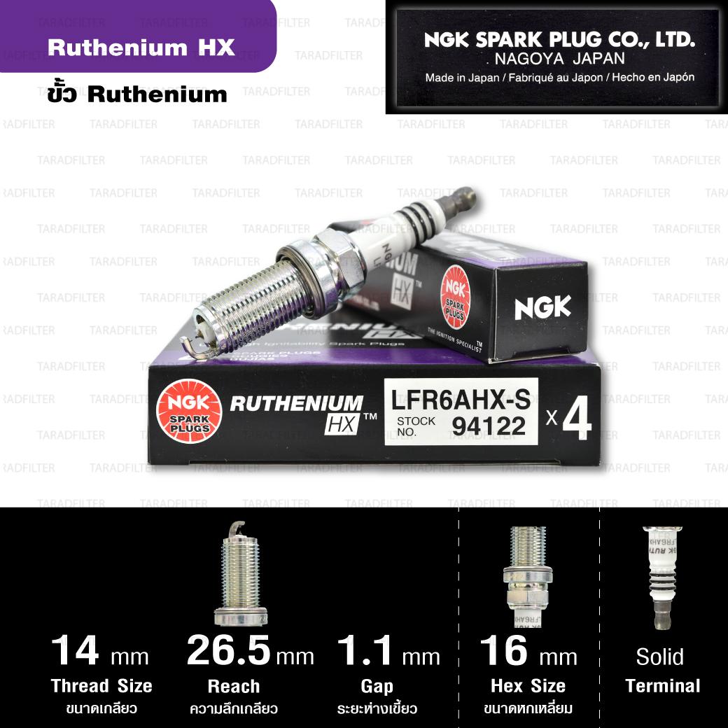 NGK หัวเทียน Ruthenium HX ขั้ว Ruthenium LFR6AHX-S ใช้สำหรับรถ Toyota Fortuner 2.7L '05, Hilux Vigo 2.7L, Innova 2.0L '04 - Made in Japan