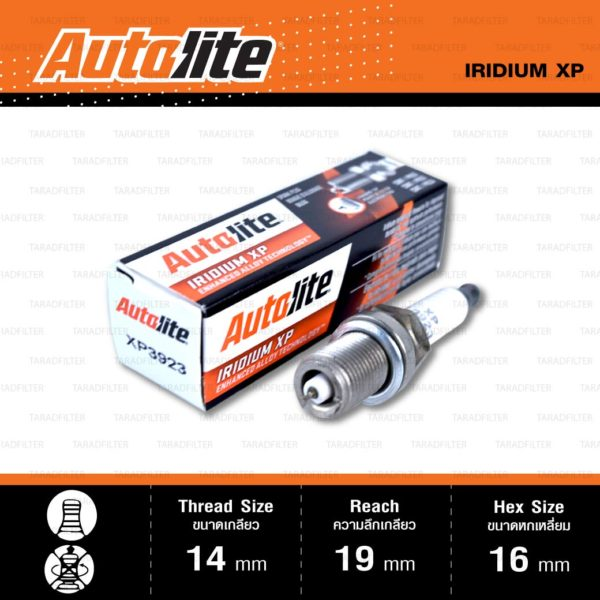 หัวเทียน Autolite XP3923 ขั้ว Iridium XP ใช้สำหรับ Chevrolet Cruze, Mitsubishi Lancer, Nissan Sunny Neo, Toyota Alphard, Avanza, Camry '91-'01