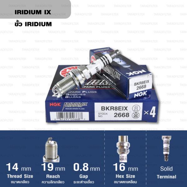 หัวเทียน NGK BKR8EIX ขั้ว Iridium (1 หัว)