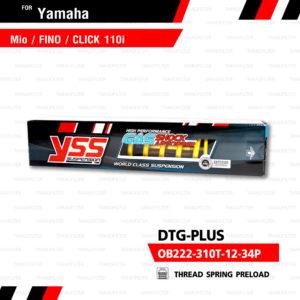 YSS โช๊คแก๊ส DTG PLUS ใช้อัพเกรด Mio Fino Filano Click110【 OB222-310T-12-34P】 โช้คอัพแก๊สกระบอก 2 ชั้น แกนทองสปริงเหลือง [ โช๊ค YSS แท้ ประกันโรงงาน 6 เดือน ]