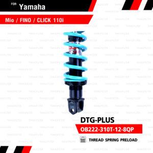 YSS โช๊คแก๊ส DTG PLUS ใช้อัพเกรด Mio Fino Filano Click110【 OB222-310T-12-8QP 】 โช้คอัพแก๊สกระบอก 2 ชั้น แกนดำสปริง Turquoise [ โช๊ค YSS แท้ ประกันโรงงาน 6 เดือน ]