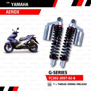 YSS โช๊คคู่แก๊ส G-Series ใช้อัพเกรดสำหรับ Yamaha Aerox 155【 TC302-305T-02-8 】