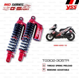 YSS โช๊คคู่แก๊ส RED-SERIES โฉมใหม่ G-Sport ใช้อัพเกรดสำหรับ AEROX 155【 TG302-305TR-02-85 】