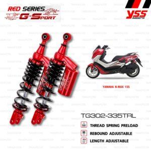 YSS โช๊คคู่แก๊ส RED-SERIES โฉมใหม่ G-Sport ใช้อัพเกรดสำหรับ NMAX 155【 TG302-335TRL-07-85J 】
