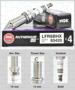 NGK หัวเทียน Ruthenium HX ขั้ว Ruthenium LFR6BHX ( อัพเกรด LFR6AIX / LFR6B )- Made in Japan