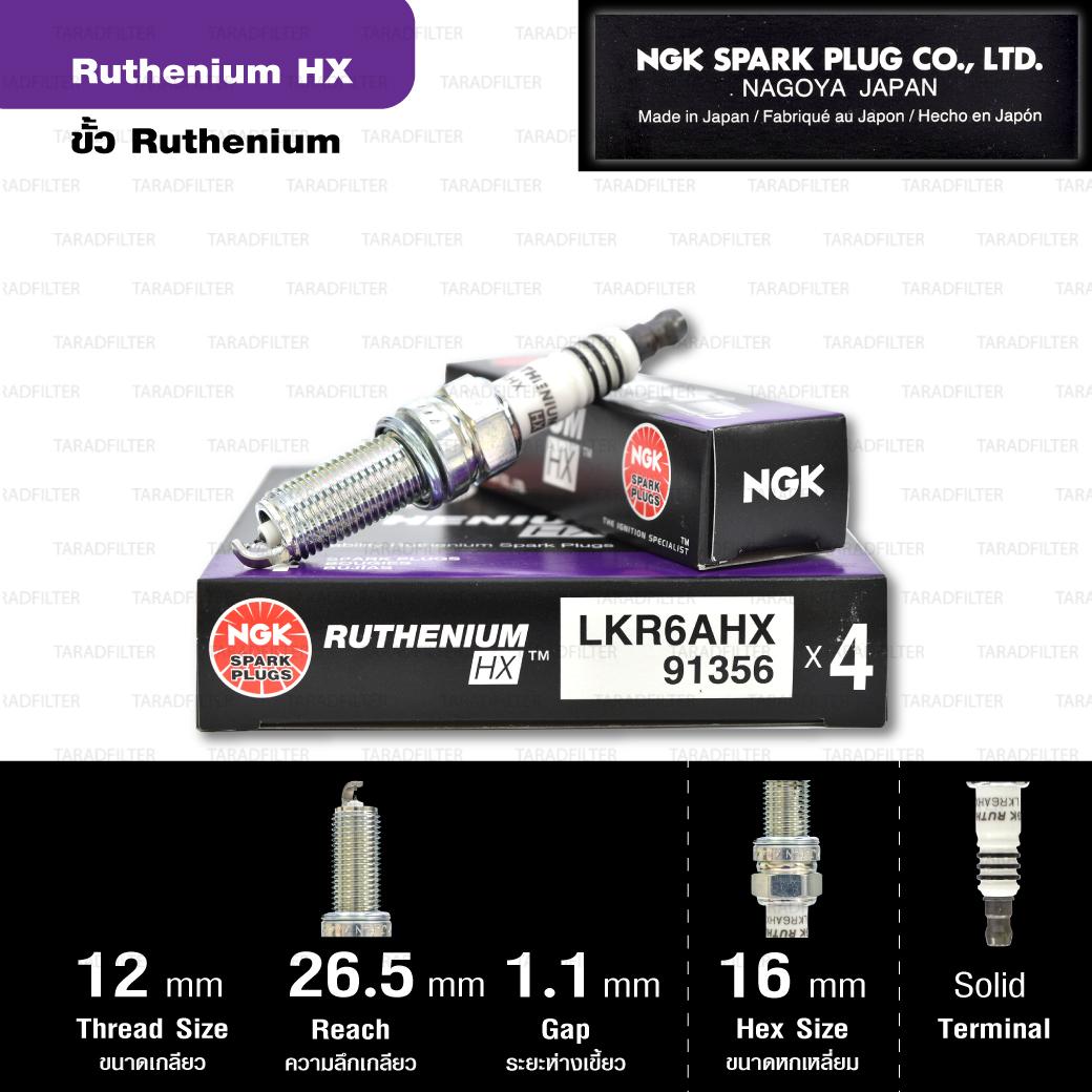 NGK หัวเทียน Ruthenium HX ขั้ว Ruthenium LKR6AHX - Made in Japan