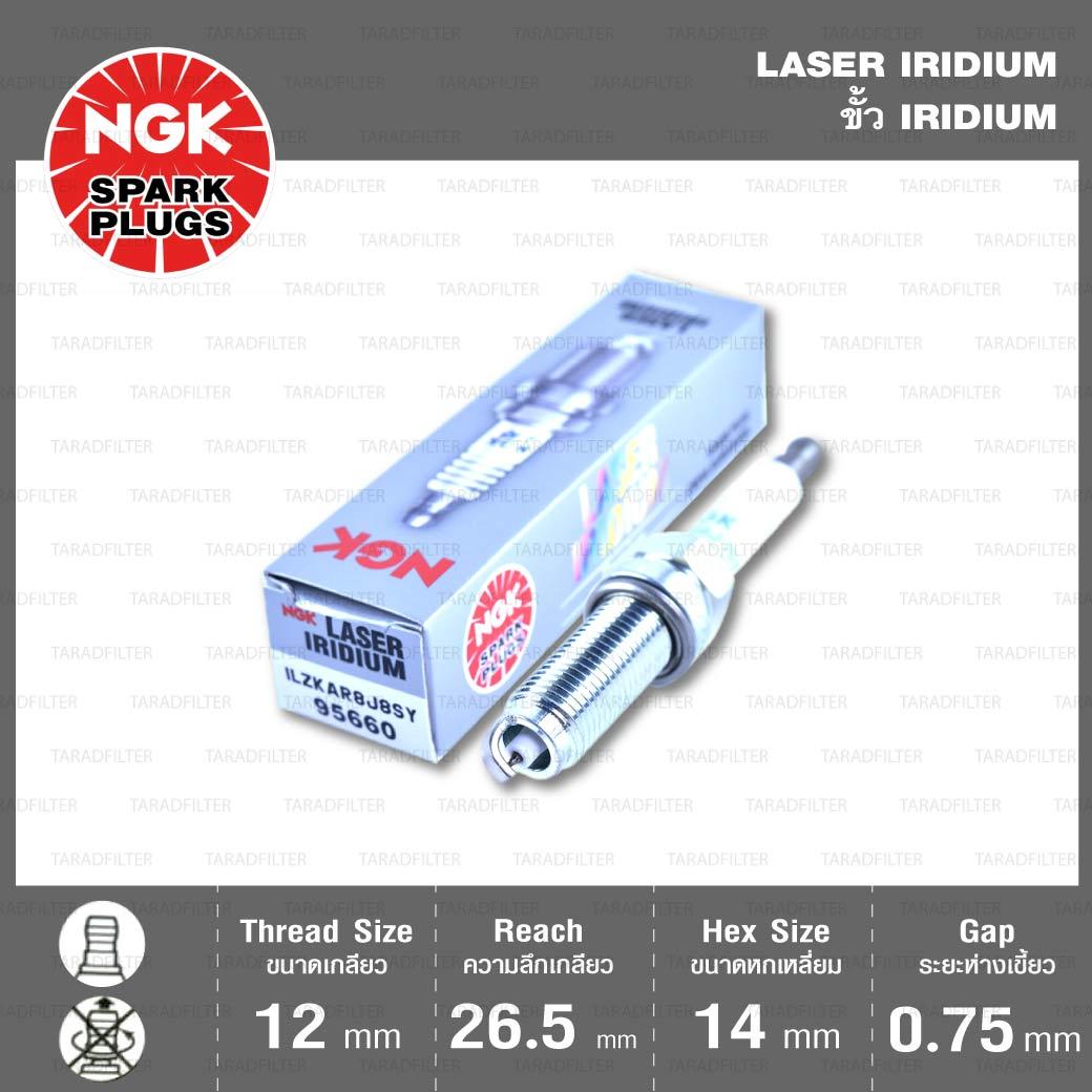 หัวเทียน ILZKAR8J8SY ขั้ว Laser Iridium ใช้สำหรับ Honda Civic FC, FK 1.5 / Accord 1.5
