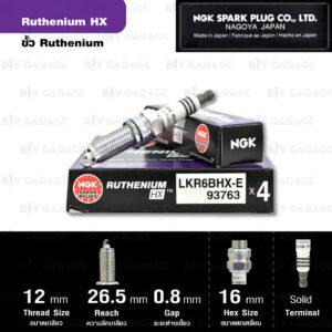 NGK หัวเทียน Ruthenium HX ขั้ว Ruthenium LKR6BHX-E - Made in Japan