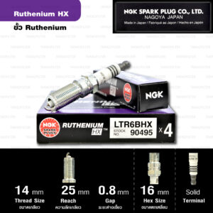 NGK หัวเทียน Ruthenium HX ขั้ว Ruthenium LTR6BHX ( อัพเกรด LTR6IX / LTR6IX-11 )- Made in Japan